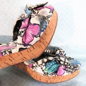 Coach Karen Blue/Purple Butterfly Cork Heel Sandal
